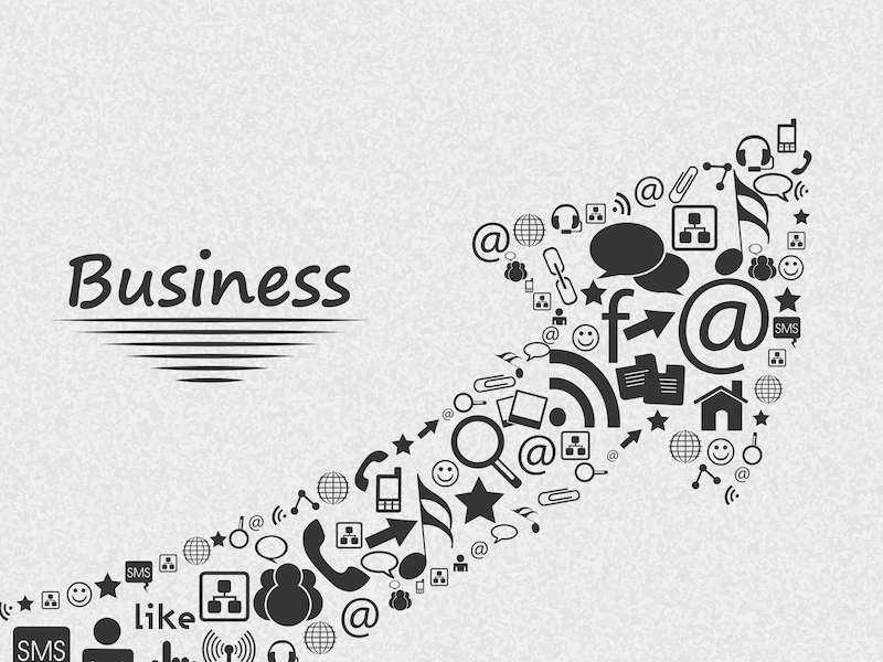 stylish social media and marketing elements in shape of up side growth arrow for business concept L